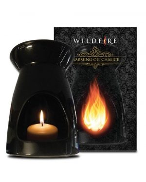 black curved chalice ceramic oil burner